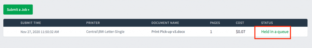 Pay for Print Held in Queue